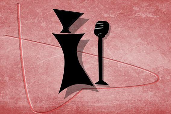 Dibujo minimalista de mujer cantando en microfono y rodeada de un corazón