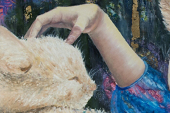 Detalle de un cuadro de Josephine Maldonado mujer con gato