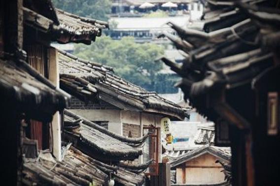 Vista de unos tejados de unas casas en cualquier aldea de China