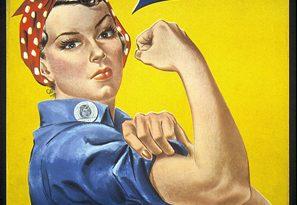 Mítico cartel de we can do it, mujer con pañuelo rojo a topos enseña fuerza en brazo