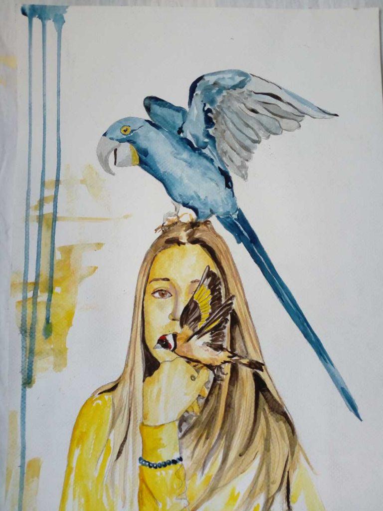 Pájaros en la cabeza cuadro de Emilio Poussa