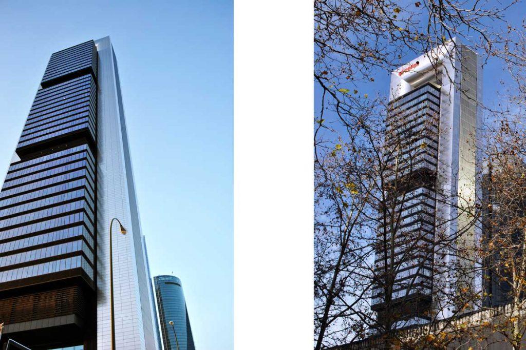 2 fotografías en diferente perspectiva la torre Foster