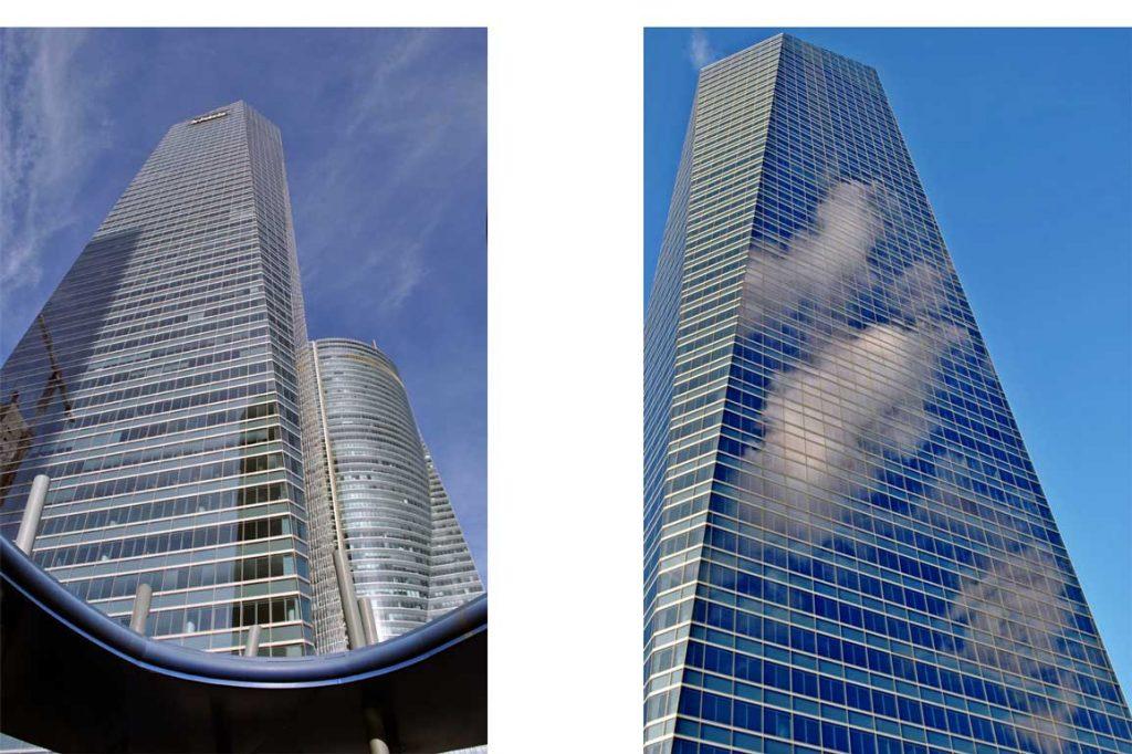 2 fotografías de la torre de cristal