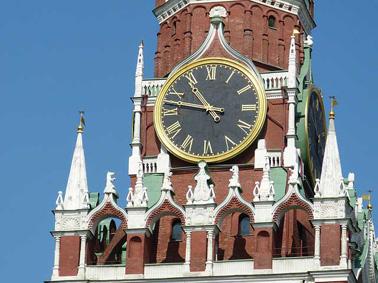 Reloj del Kremlin en Moscú, Rusia