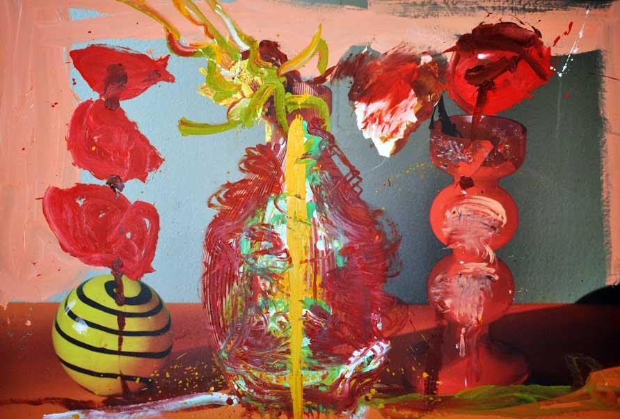 Uno de los cuadros de la exposición Flores de Almodovar