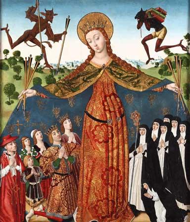 La Virgen de la Misericordia con los Reyes Católicos y su familia, de Diego de la Cruz, circa 1486
