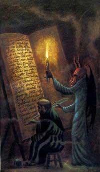 Escriba haciendo un libro junto al diablo