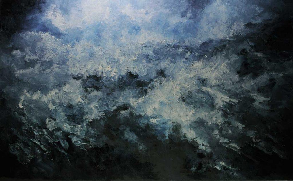 ©Héctor Villarroel, Stormy Night 1, 2019, óleo sobre lienzo, 81 x 130 cm.