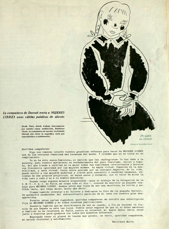 Carta de Elimienne Morin a la revista Mujeres libres