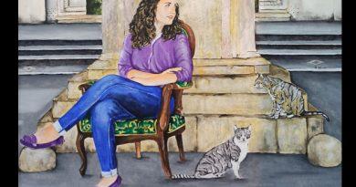 Detalle cuadro Emilio Poussa titulado María y los gatos