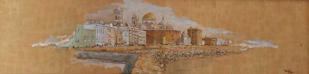 Cádiz. Acuerela de Emilio Poussa