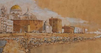 Detalle acuarela Cádiz de Emilio Poussa