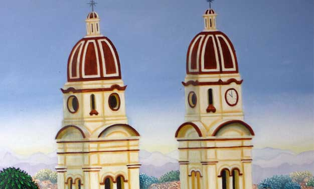 Detalle de la obra de Alejandro Pinzón, titulada Charala en misa
