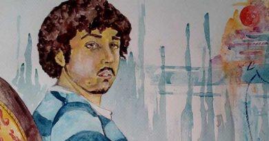 Boceto en acuarela de Alonso y los galgos.