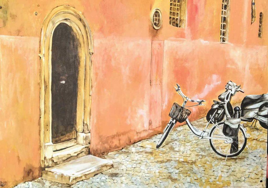 Peligro en Vicolo Orbitelli, Roma. Óleo de Emilio Poussa