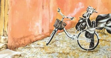 """Detalle óleo de Emilio Poussa, titulado """"Peligro en Vicolo Orbitelli, Roma"""""""