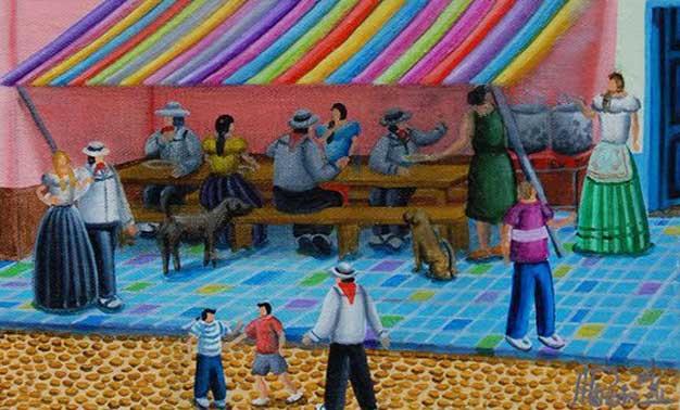 Detalles del cuadro El almuerzo - ALEJANDRO PINZON – Colombia