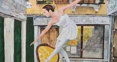 "Detalle obra Emilio Poussa. Öleo titulado ""La bailarina en la calle de la Oca. Venecia"""