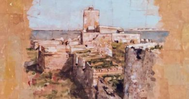 Detalle de la acuarela de Emilio Poussa del Castillo de Sancti Petri