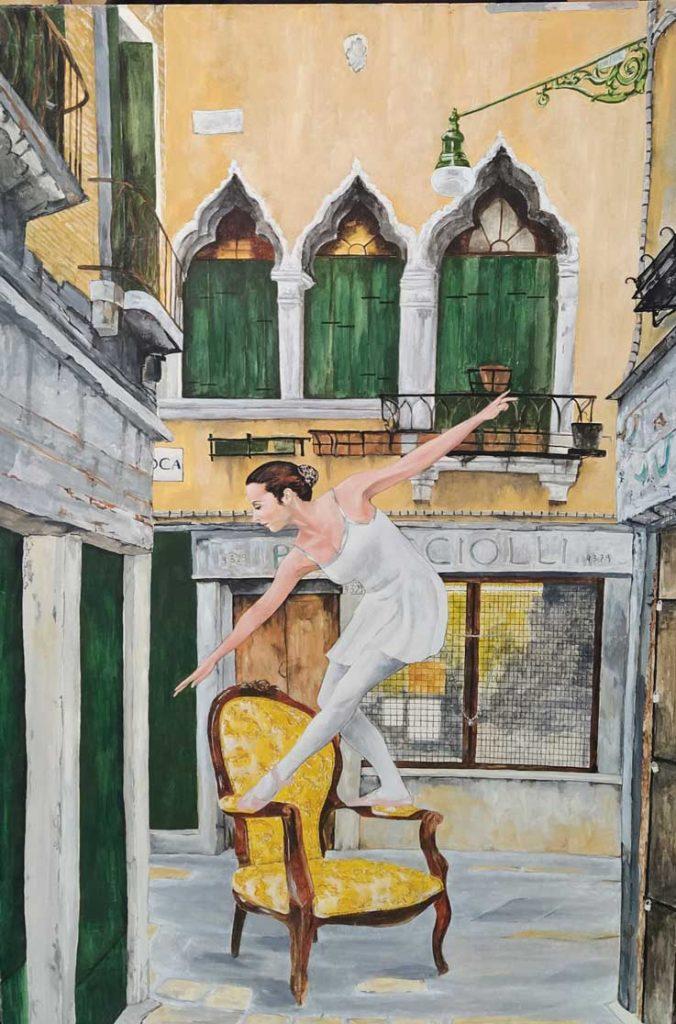 La bailarina de la calle de la Oca, Venecia. Óleo de Emilio Poussa