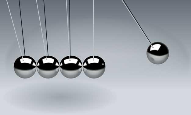 Bolas para demostrar Ley Newton: acción.-reacción