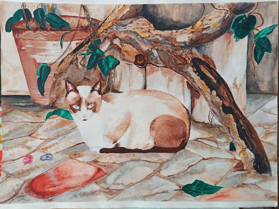 Un gato. Acurela sobre papel. Emilio Poussa