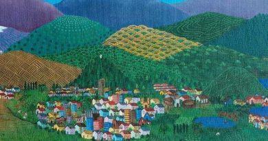 Detalle del cuadro CHILE, UN LARGO SUSPIRO DE COLORES. óleo sobre tela 60 x 90 (1989)
