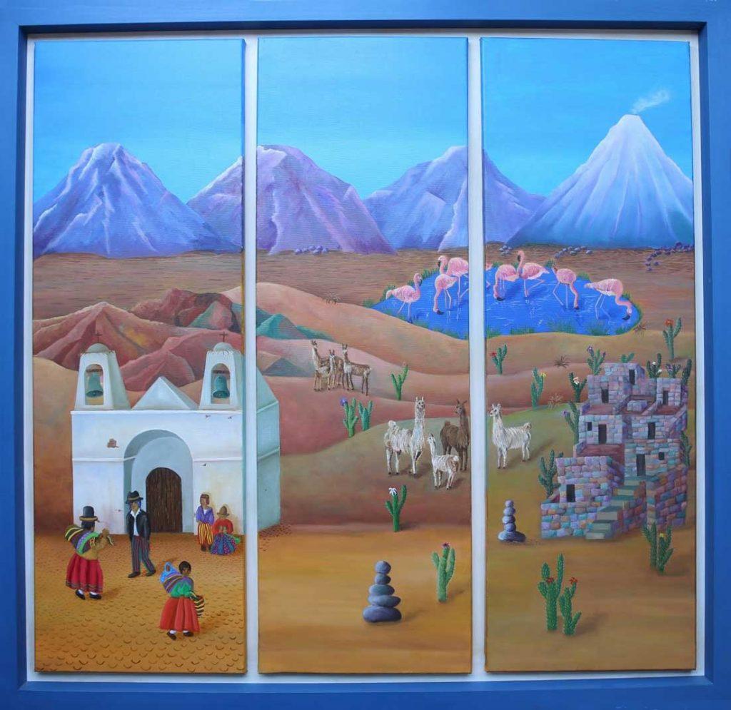 EL PAISAJE NORTEÑO ES UNA CREACIÓN  DIVINA                                  óleo sobre tela, Tríptico 100 x 100 (2018) de Cecilia Byrne