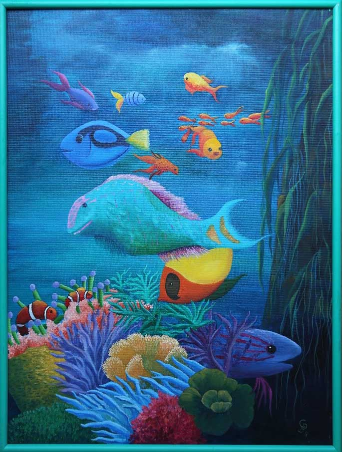 Peces, óleo sobre tela 65 x 50 (2017) de Cecilia Byme