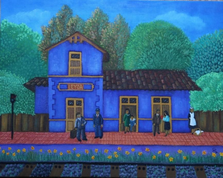 Estación de trenes de Leyda. Óleo sobre tela, 40x50. (2020) de Cecilia Byrne