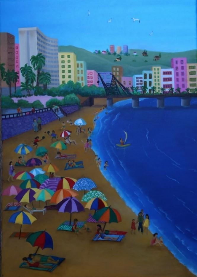Playa de Viña del Mar. Óleo sobre tela 70x50, (2018) de Cecilia Byrne
