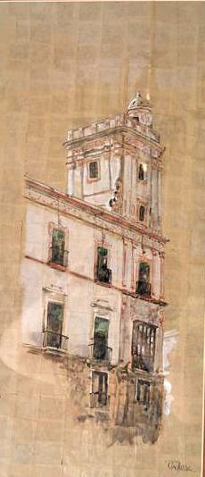 Casa de las Cuatro Torres II. Acuarela sobre papel kraft. Emilio Poussa