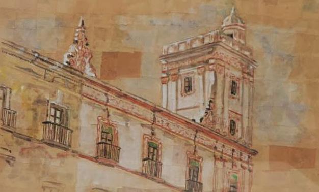 Detalle Casa de las Cuatro Torres I. Acuarela sobre papel kraft. Emilio Poussa