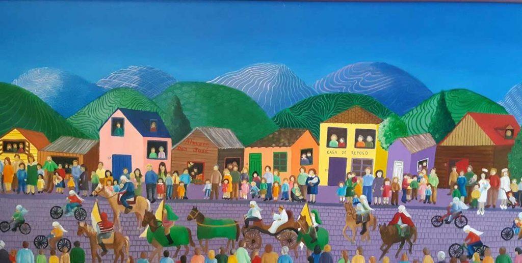 Fiesta de Cuasimodo. Óleo sobre tela, 50 x 100 (2018) de Cecilia Byrne