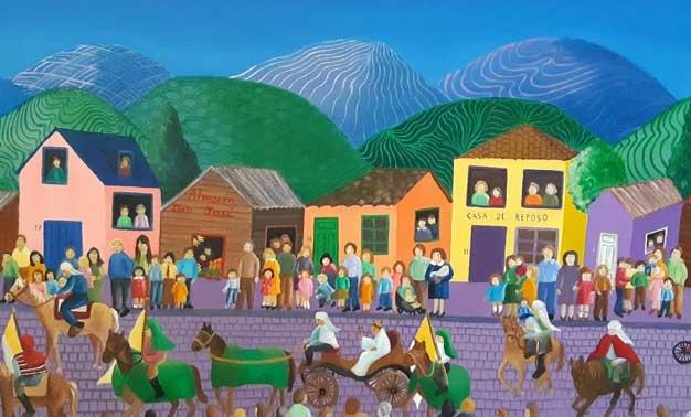 Detalles del cuadro de Cecilia Byrne Fiesta de Cuasimodo. Óleo sobre tela, 50 x 100 (2018)