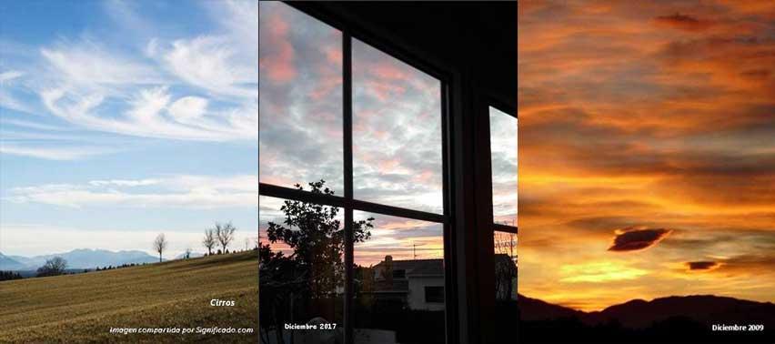 Tipos de nubes y en distintas épocas del año