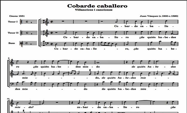 Partitura de Cobarde caballero de Juan Vásquez