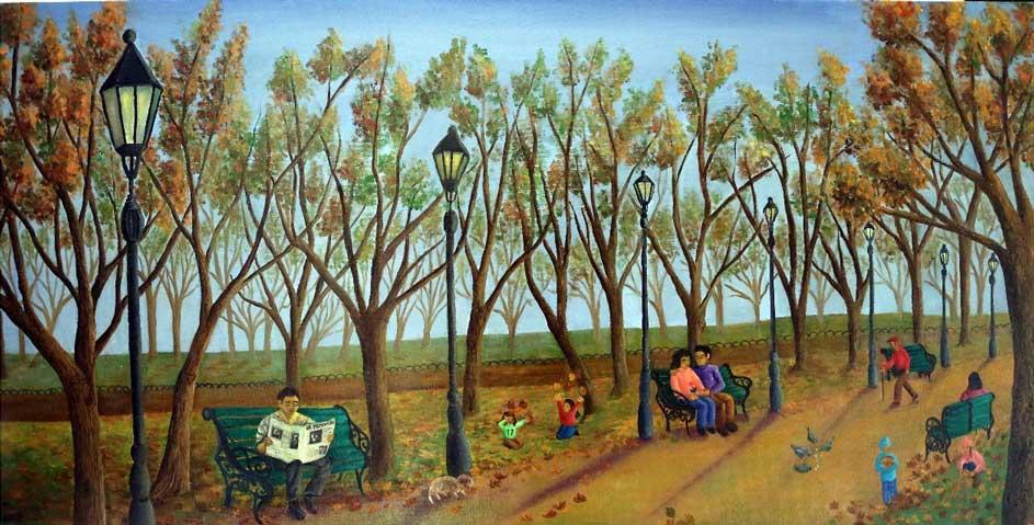 Cálida tarde otoñal en el Parque Forestal, óleo sobre tela, 50x100 (2021) de Cecilia Byrne