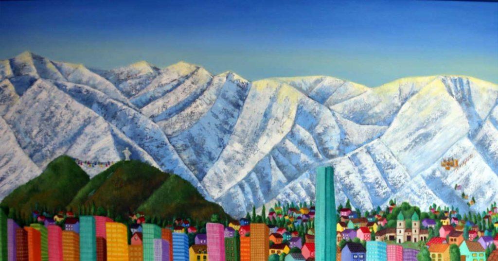 Invierno en Santiago con su majestuosa Cordillera nevada, óleo sobre tela, 50x100 (2021) de Cecilia Byrne