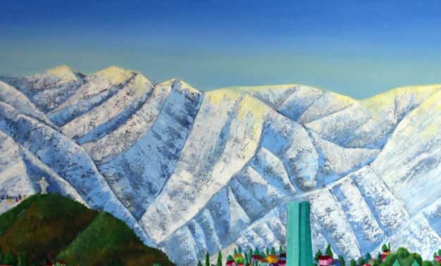 Detalle del cuadro Invierno en Santiago con su majestuosa Cordillera nevada, de Cecilia Byrne