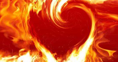 corazón en llamas