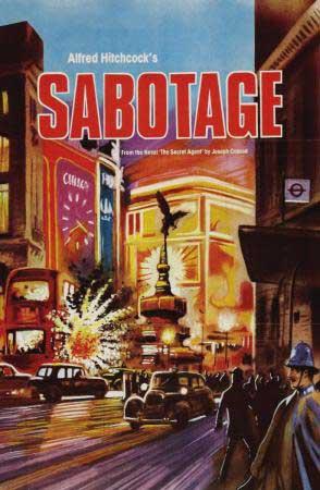 Cartel de la película Sabotaje de Alfred Hiitchocock