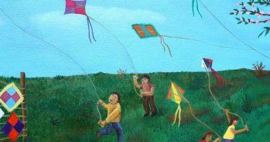 """Detalle del cuadro de Cecilia Byrne Cecilia Byrne. """"Niños encumbrando volantines"""". Óleo sobre tela, 65x50 (2019)"""