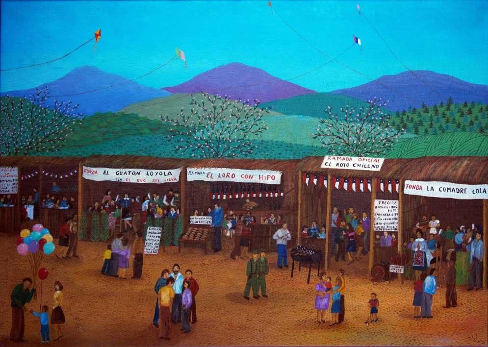 """Cecilia Byrne. """"Fondas dieciocheras"""", óleo sobre tela, 65x50 (1987)"""