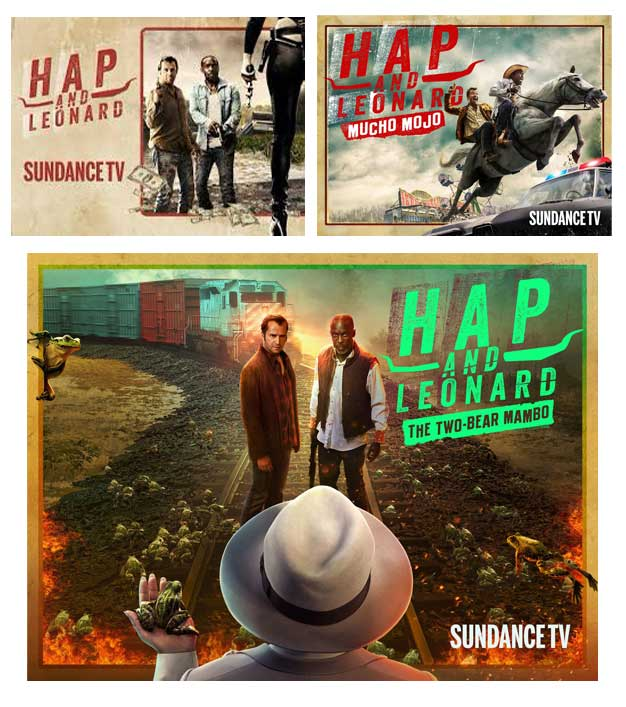 Carteles de las diferentes temporadas de Hap and Leonard