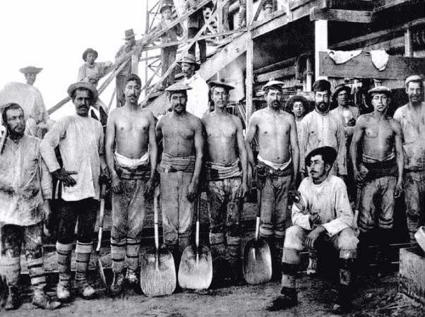 Trabajadores de la mina de nitrato de Chile