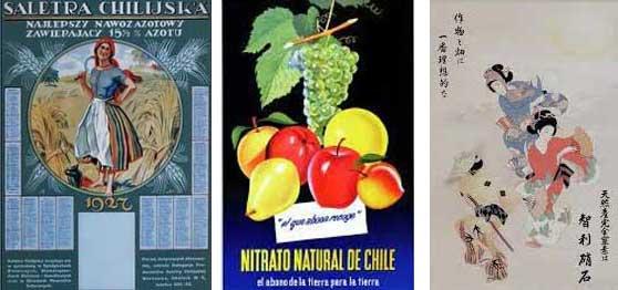 Carteles de Polonia, Argentina y Japón de nitrato de Chile