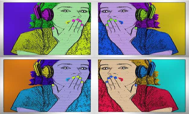 cuatro mujeres en diseño pop art